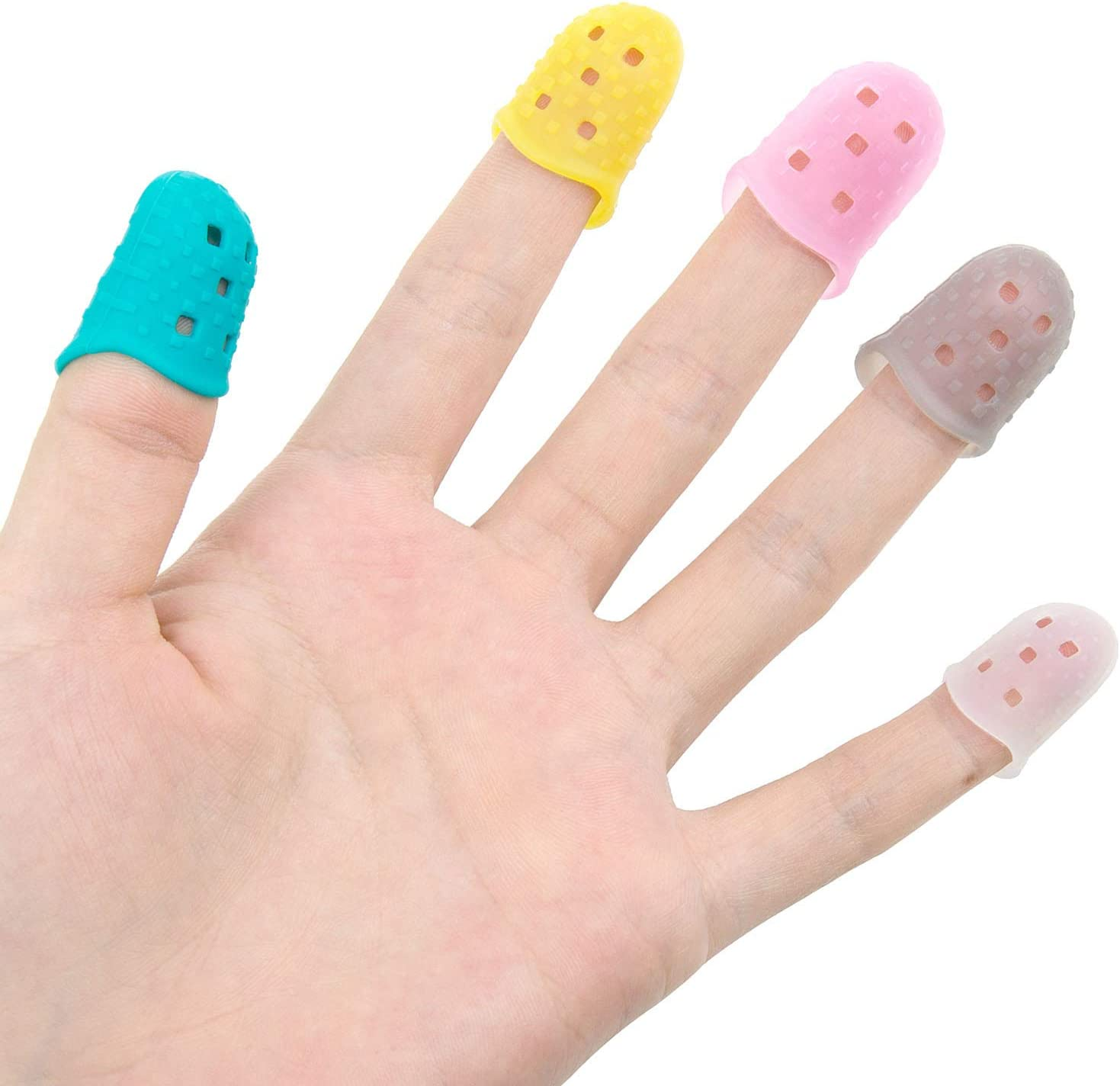 Multicolor 5 Sizes Jolintek 50 Pieces Fingertip Protectors Guitar Finger Guards Silicone Anti-Slip Finger Protection Covers Cap or Stringed Instruments Mandolin Counting Sewing Paperwork