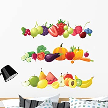 Wallmonkeys Fruits Vegetables And Berries Wall Decal Sticker Set Individual Peel And Stick Graphics On A 36 In H X 36 In W Sticker Sheet Wm138735