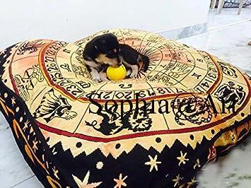 Sophia Art Elefante Indio Mandala Suelo Almohada Cuadrada sofá Grande Funda de cojín Algodón puf Otomano Asiento Otomano POUFS Perro/Mascotas Cama: ...