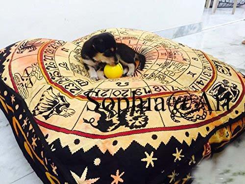 Sophia Art Indiano Zodaic Astrology Mandala Floor Pillow Square Pouf ottomano Daybed Oversize Sedere Cuscino Cotone ottomano Pouf Cuccia per Cani/Animali Domestici (Giallo)