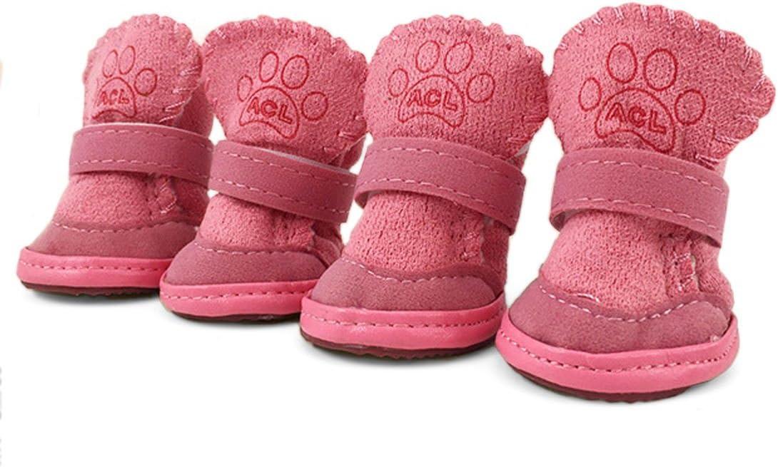 URBEST 4PCS Nonslip Sole Booties Puppy Dog Winter Shoes Pink XXXS