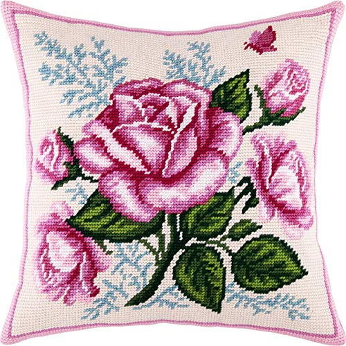 Bouquet of Roses. Cross Stitch Kit. Throw Pillow Case 16×16 Inches. Home Decor, DIY Embroidery Needlepoint Cushion Cover Front, Printed Tapestry Canvas, European Quality. Rose, Flowers, Floral