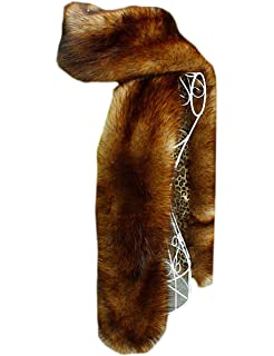 6959eb43da968 NAFLEAP Women Winter Warm Faux Fox Fur Scarf Collar Long Wrap Scarf Stole  Shawl Shrug