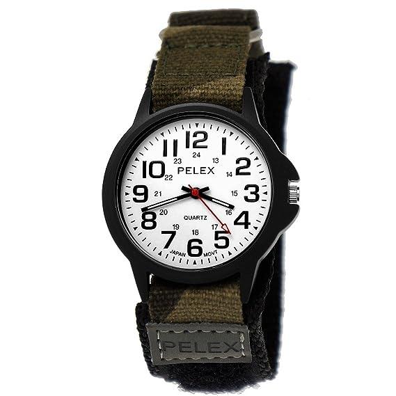 PELEX London Camoflage Reloj de camuflaje infantil, reloj analógico de cuarzo y correa textil de nailon con velcro para niños y niñas de calidad japonesa: ...