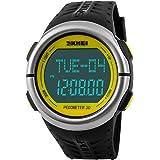 SKMEI 腕時計 ユニセックス スポーツ デジタル 防水 日付曜日 心拍数測定 歩数計 ストップウォッチ アラーム ブラック