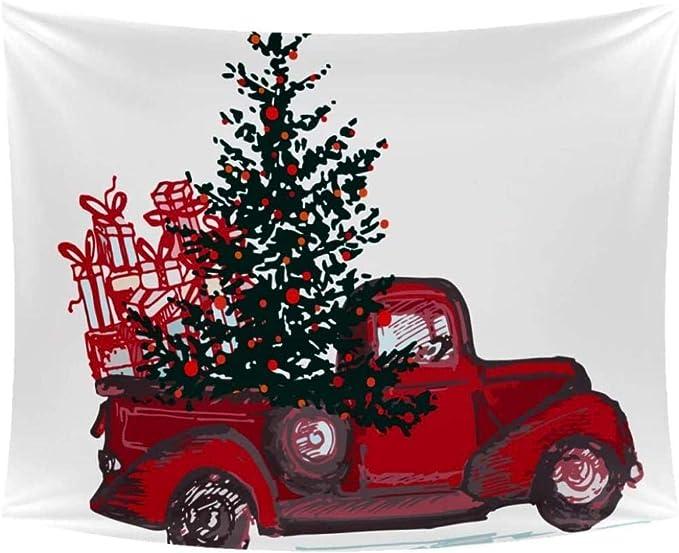 kjbfkghj Tapiz,Coche Que sostiene el árbol de Navidad Regalos ...