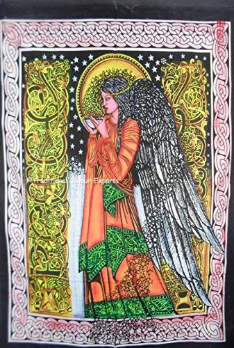 - Traditional Jaipur Hand Brush Painted Angel Wall Art Poster, Celtic Wall Decor, Bohemian Wall Hanging, Hippie Dorm Room Decoration, Gypsy Wall Art, Size 30