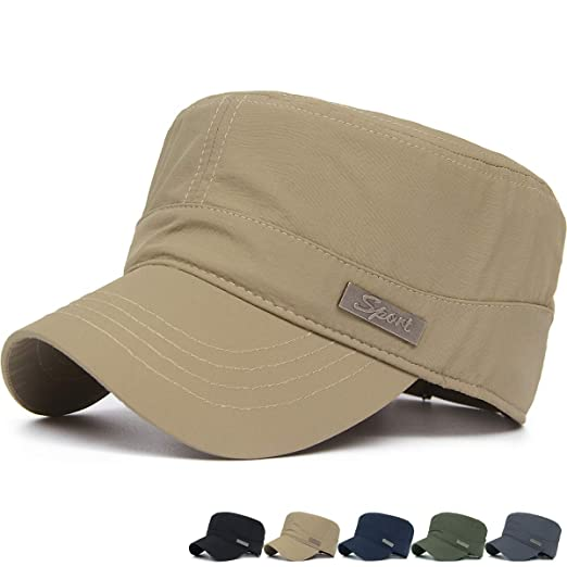 d19d559fcb1 REDSHARKS Quick Dry Waterproof Military Army Cadet Cap Castro Patrol Corps  Infantry Flat Top Hat Khaki at Amazon Men s Clothing store