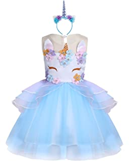 06537bd86268 KABETY Baby Girl Unicorn Costume Pageant Flower Princess Party Dress with  Headband
