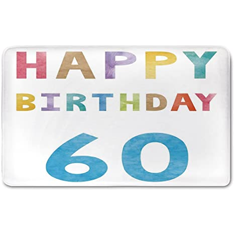 Memory Foam Bath Mat60th Birthday DecorationsVintage Party For Elder In Abstract