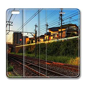 iPhone 6 Case, iPhone 6 Leather Case, Fashion Protective PU Leather Slim Flip Case [Stand Feature] Cover for New Apple iPhone 6(4.7 inch) - Train Tracks And Light
