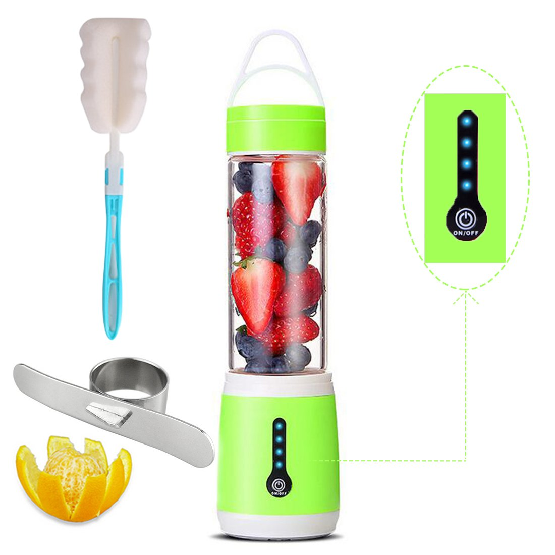 Juicer Cup 6 Blades Portable blender Personal Household Rechargeable Fruit Mixer with Powerful Motor, Electric Food Mixing Machine with Magnetic Secure Switch,USB Charger&Barker For Travel 480ML-Green