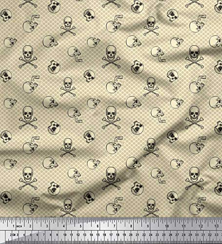 Soimoi White Georgette Viscose Fabric Circle & Skull Halloween Printed Craft Fabric by The Yard 42 Inch Wide -