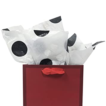 Printed Tissue Paper for Gift Wrapping with Design Black Polka Dot on White