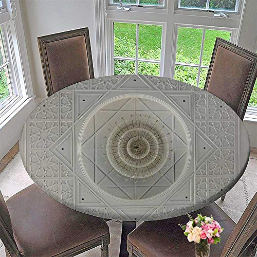 - PINAFORE HOME Round Fitted Tablecloth johor Malaysia March Interior of Sultan Ismail Mosque for All Occasions 31.5