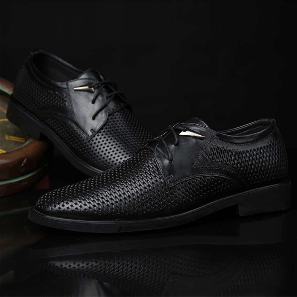 ... Ailishabroy Leder Schuhe Lace Herren Schwarz Sommer Atmungsaktiv Lace  Schuhe up Oxford Geschäft Herren Schuhe Schwarz ... 6cf9c06f27