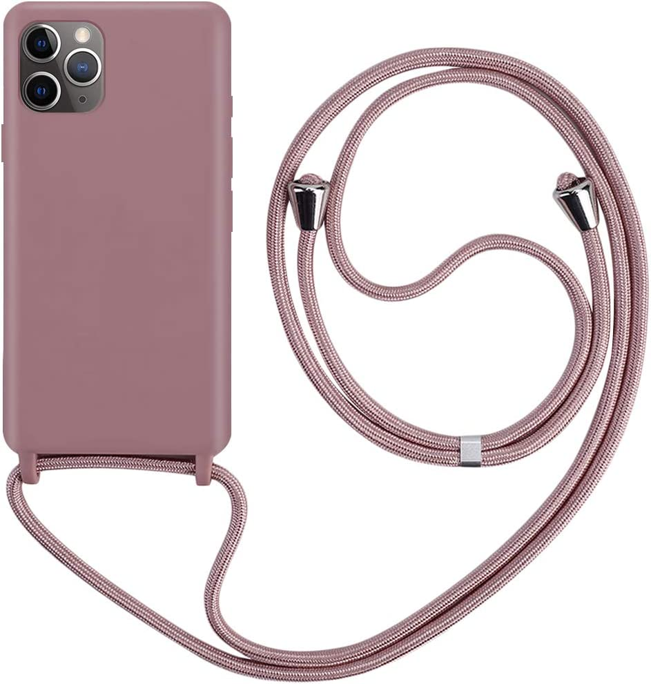 CLM-Tech Carcasa con Cuerda para Colgar Compatible con Apple iPhone 11 Pro MAX (6.5 Pulgada) - Funda Silicona Transparente con Cordon para Llevar en el Cuello, Azul Negro