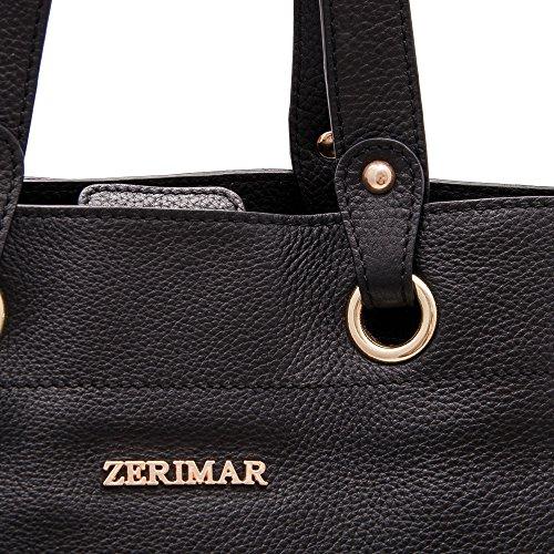 Zerimar Sac à Grand Sac main qualité Sac de Sacs main Petit cuir main haute à portés 100 Noir femme HHqrATaw