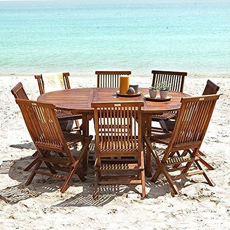 Salon de jardin en bois de Teck Huilé - Table ovale 6/8 personnes + 8  chaises pliantes