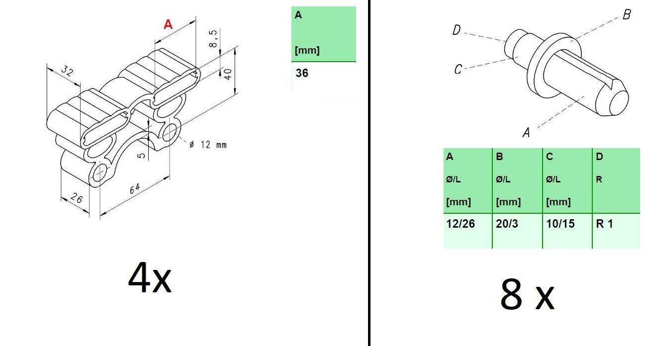 Almohadillas de caucho para listones rsote para fijación con pernos disponible con o sin pernos, caucho, 36x32x8,5 mm B x T x H Inkl. Bolzen (Duokappen): ...