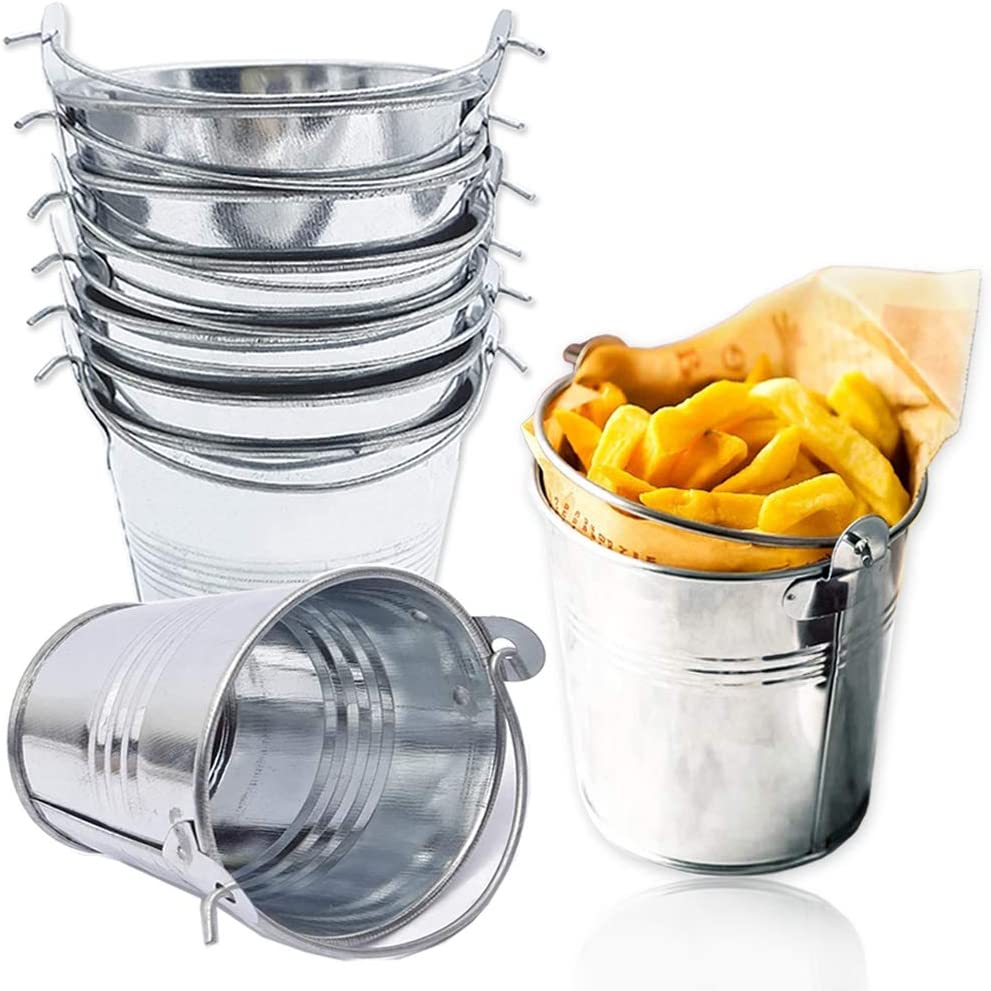 8 PCS 3 Inches Mini Metal Buckets,Small Metal Pail,Mini Tin Pails with Handles for Party Favors and Garden Decorations