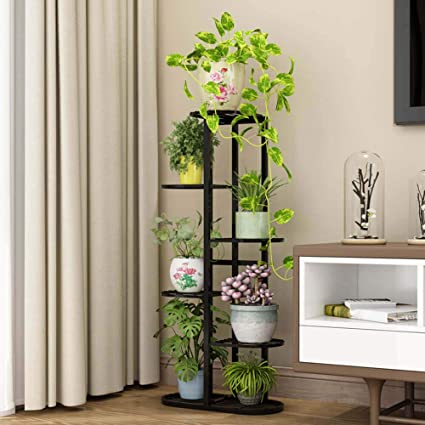 Amazon Com Multi Tier Iron Plant Stand Indoor 6 Layer Tiered Wrought Iron Flower Pot Stand Metal Plant Display Rack Shelf Multi Tiered Plant Holder For Living Room Corner Patio Balcony Court