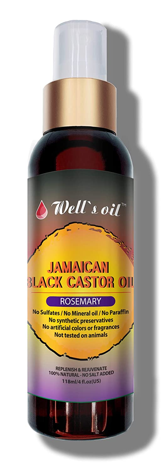 Well's Jamaican Black Castor Oil Original, Peppermint, Tea Tree, Rosemary Spray 4oz INCREASE HAIR GROWTH/THICKEN HAIR THAT IS STARTING TO THIN OUT REDUCE AND PREVENT HAIR DAMAGE (ROSEMARY)