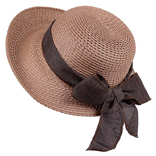 Sun Straw Hat-Womens Floppy Beach Summer Fashion Hat with UV Protection Roll Up Wide Brim(Khaki) (Accessories Womens Khaki : Clothing)