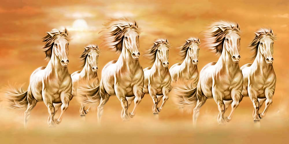 """Art Factory Canvas Running 7 Horse Painting (24""""x 48"""", Brown ..."""
