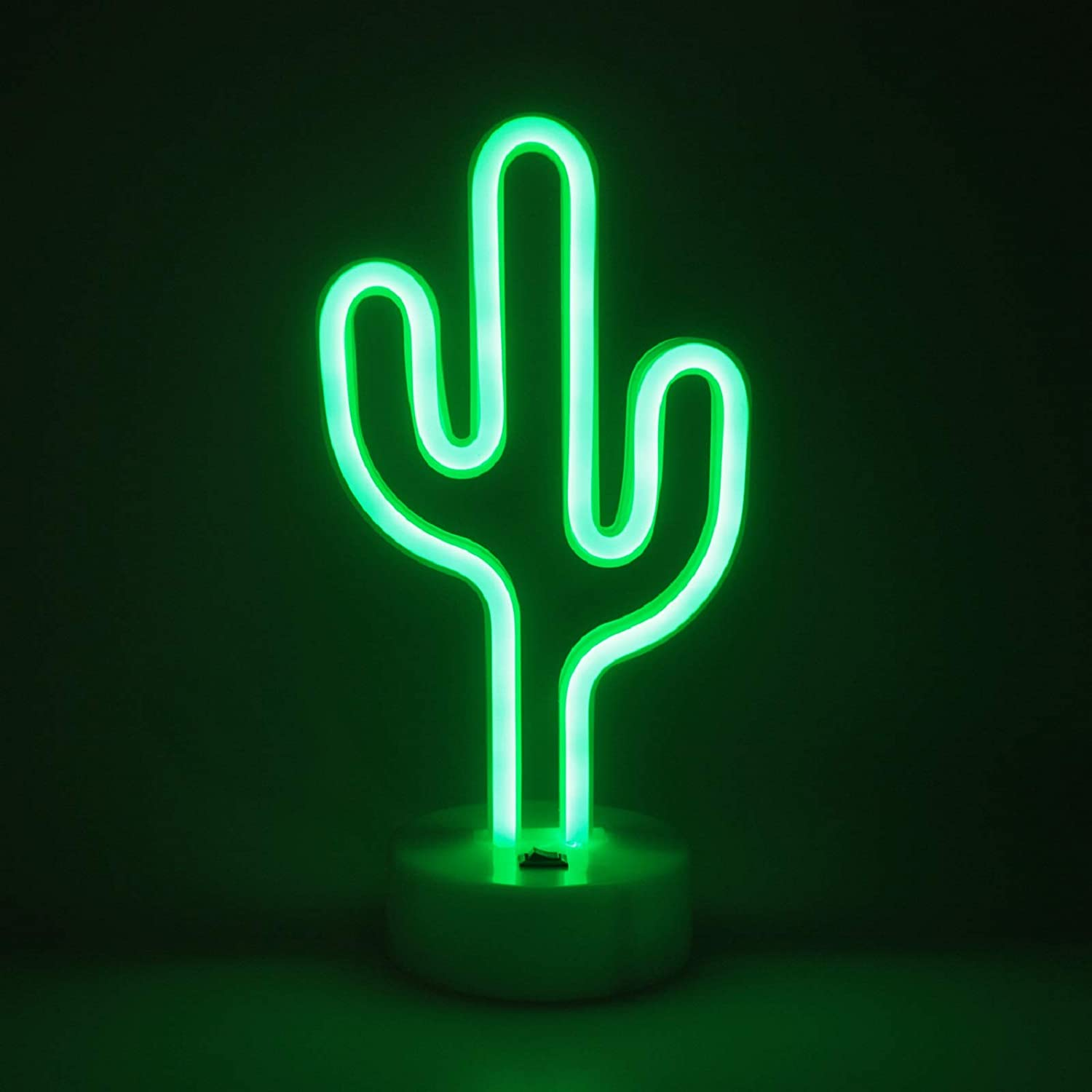 BHCLIGHT Cactus Neon Signs Room Decor LED Neon Light with Holder Base for Table Light Home Party Birthday Bedroom Bedside Table Decoration Gifts (Green)