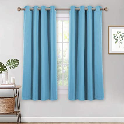 PONY DANCE Bedroom Blue Curtains -52 Wide by 54 inch Drop, Light Blue, 1  Pair, Modern Ring Top Room Darken Window Drapes Set for Kid\'s Room  Decoration ...