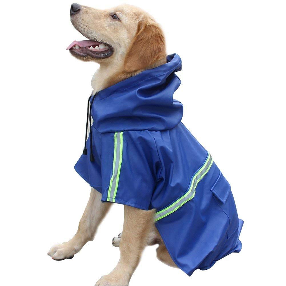 RUNF0N Manteau Imperméable Fluorescente pour Chien Vêtement Imperméable avec Capuche (M)