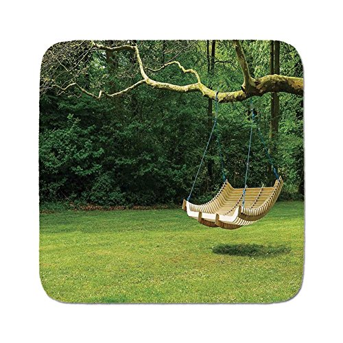 - Cozy Seat Protector Pads Cushion Area Rug,Country Decor,Curved Swing Bench Hanging From the Bough of Tree in Lush Garden Woodland Backdrop,Easy to Use on Any Surface