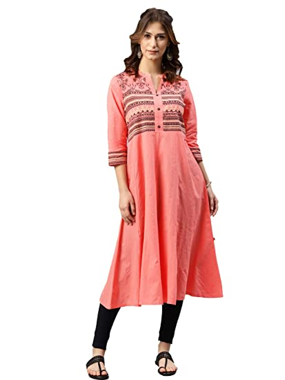 Alena Cotton Women Casual Kurta in Peach Color: Amazon in: Clothing