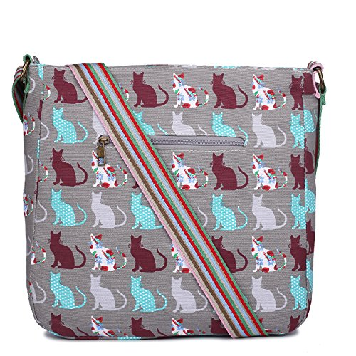 Grey Canvas Bag Miss Cat Messenger Lulu qX5wBxwgz