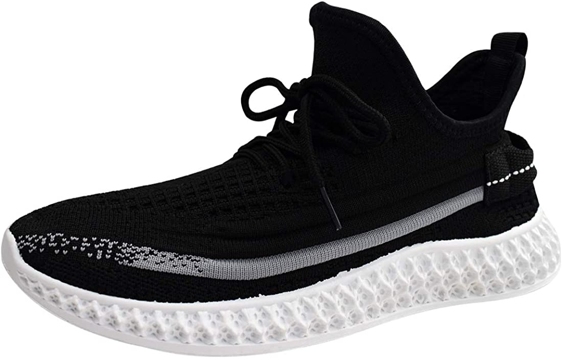 Running Shoes Women Mesh Sneakers Lace Up Walking Shoes, Slip-On Running Sneakers Lightweight Workout Shoes, Size 5-11