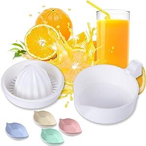Lemon Squeezer Citrus Juicer with Strainer, Hand Juicer Citrus Orange Squeezer Manual Juicer Lemon Orange Hand Squeezer with 4Pcs Leaf Shape Sauce Dish