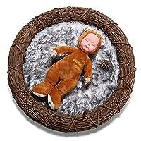Sunmig Newborn Baby Photo Props Faux Fur Mat Rug Photography Background Backdrops Basket Stuffer Blanket (Light Grey)