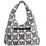kilofly Bohemian Hippie Gypsy Soft Cotton Cloth Zipper Shoulder Bag Handbag Tote