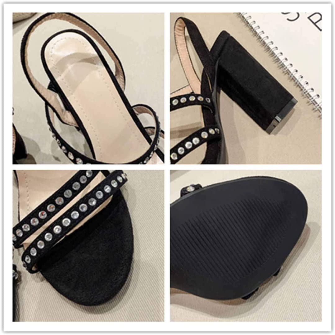 BZBZBZ Pompa Donne Sandali Sandali 11cm Chunkly Tallone Casual Court Shoes EU Formato 35-40 Nero 2W4i8J