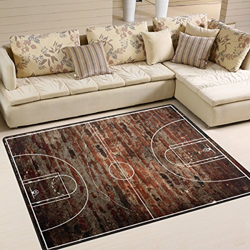 - ALAZA Basketball Court on Grungy Brick Area Rug Rugs for Living Room Bedroom 7' x 5'