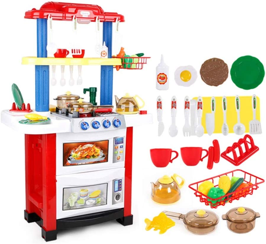Amazon Com Kitchen Toys Kitchen Playsets Plastic Kitchen Playsets Pretend Play Kids Kitchenware Set 30 Accessories Two Kids Play Gifts Color Red Size 513883cm Home Kitchen