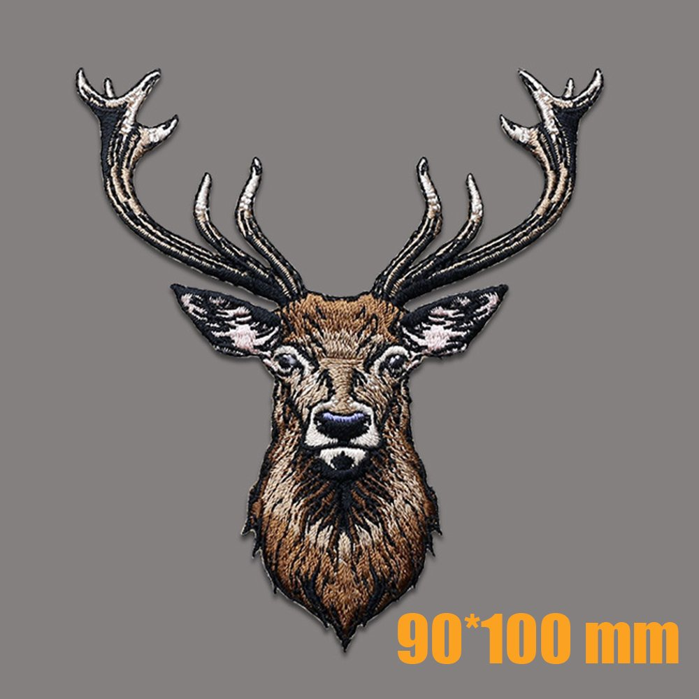 Sew On Applique Patch Women Boys 2 Pcs Deer Embroidery Applique Patches Kids Girls Cool Patches for Men Christmas Applique Delicate Embroidered Patches Iron On Patches