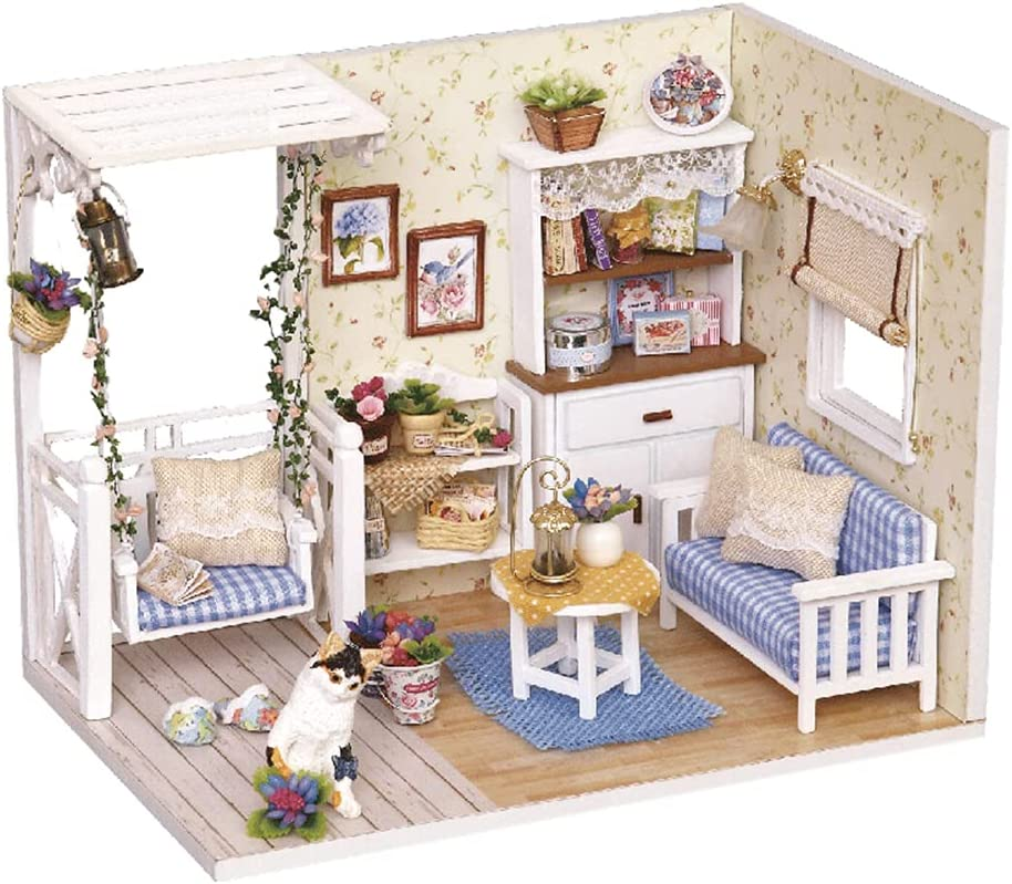 TuKIIE DIY Miniature Dollhouse Kit with Furniture, 1:24 Scale Creative Room Mini Wooden Doll House Accessories Plus Dust Proof for Kids Teens Adults(Kitten Diary)