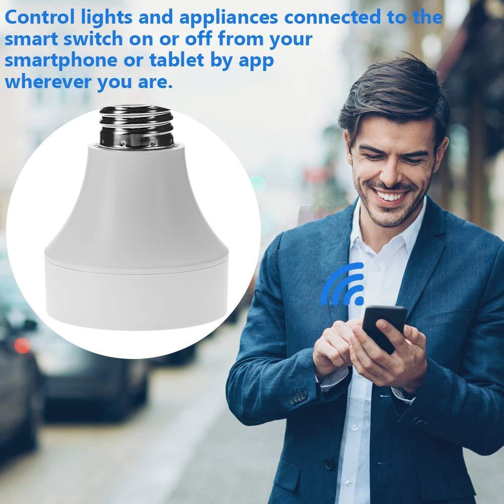Telecomando con Smart Device e Controllo Vioce di  Alexa e Google for Home Office Eboxer Portalampada con Presa per Lampadina Wi-Fi Smart Light con Timer di accensione e Timer di spegnimento