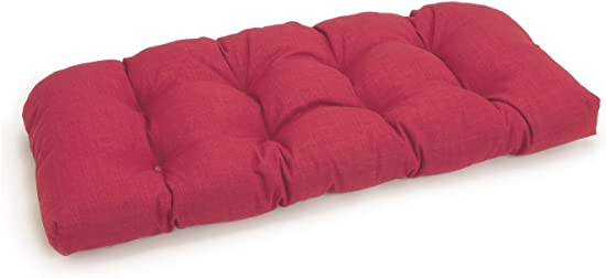 Blazing Needles U-Shaped Solid Spun Polyester Tufted Settee/Bench Cushion