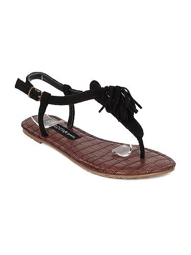 9b25df4ab0a Wild Diva Women T-Strap Flat Sandal - Tasseled Sandal - Fringe Sandal - HA66