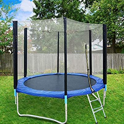 Xesvk 8 FT Trampoline with Ladder, Outdoor Trampoline with Enclosure net and Safety Pad Jumping Mat Spring Pull Hook, Backyard Trampoline for Kids Boy Girl Teens: Kitchen & Dining