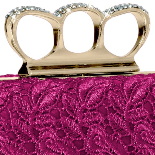 colours Bag Rhinestones CASPAR Clutch Lace Womens and many TA290 Pink Crochet Knuckle Box with Duster Evening r4OUr