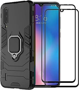 XIFAN Funda para Xiaomi Mi 9 Lite, [Robusto] Anillo Metálico Soporte [Funciona con El Montaje De Coche Magnético] Case Carcasa, Negro + 2 Piezas Protector de Pantalla: Amazon.es: Electrónica